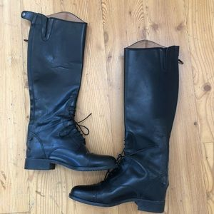 Ariat black leather back zip lace high boot Sz 6.5